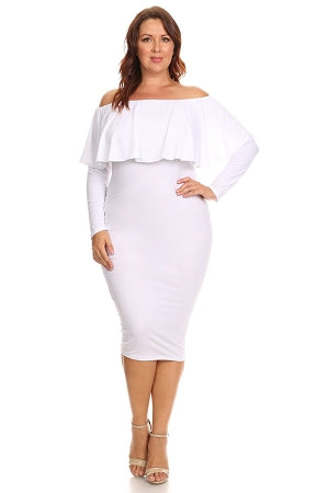White Rosie Off Shoulder Dress