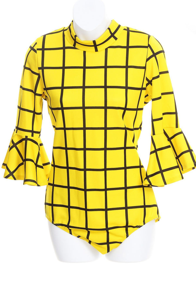 Yellow Grid Bell Sleeve Body-Suit