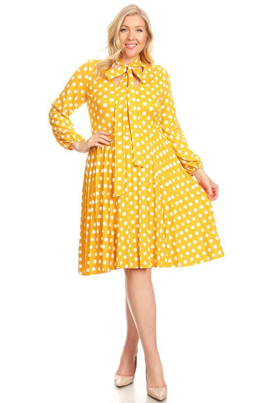 Yellow Polka Dot Bonnie Pleated Dress