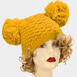 Yellow Double Pom Pom Beanie Hat