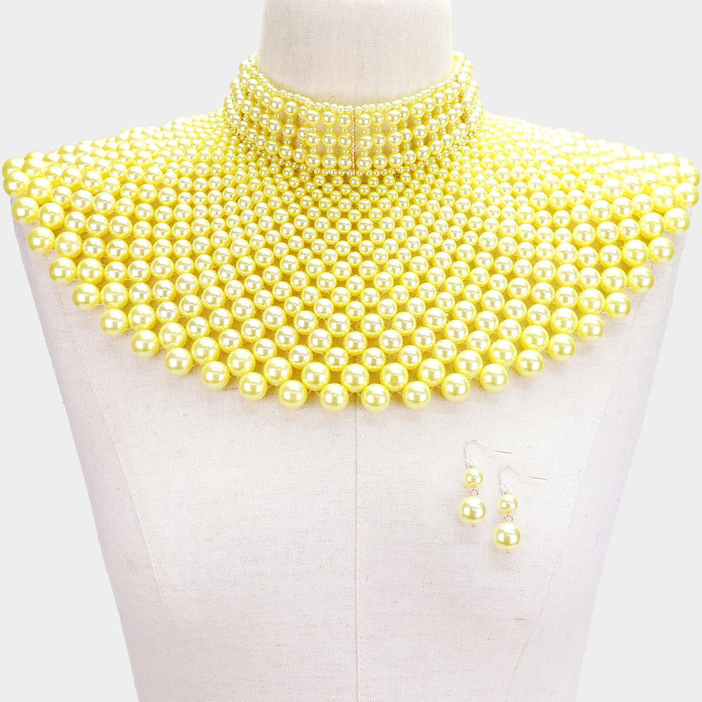 Yellow Pearl Armor Bib Necklace
