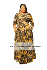 Yellow Camouflage Gabby Maxi Dress