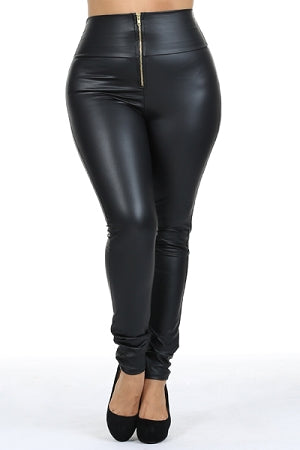 Zipper Faux Leather High Waist Leggings