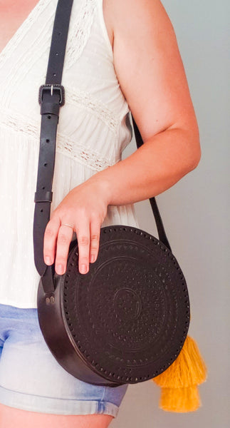 Purse and Clutch- Hand Embossed Circle Crossbody