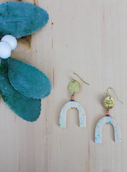 White with pastel specks earrings