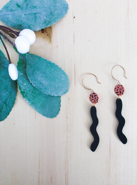Pink and Black earrings squiggle