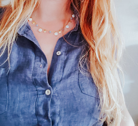 Blue and White delicate necklace