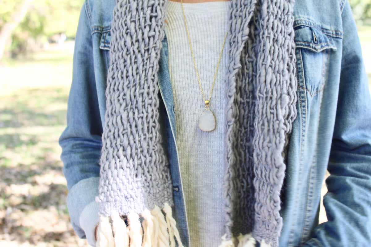 Hand knit scarf and necklace