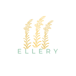 Ellery logo with goldenrod flowers