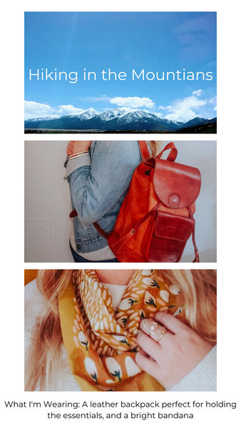 Pictures of mountains and a leather back pack, and a screen printed bandana