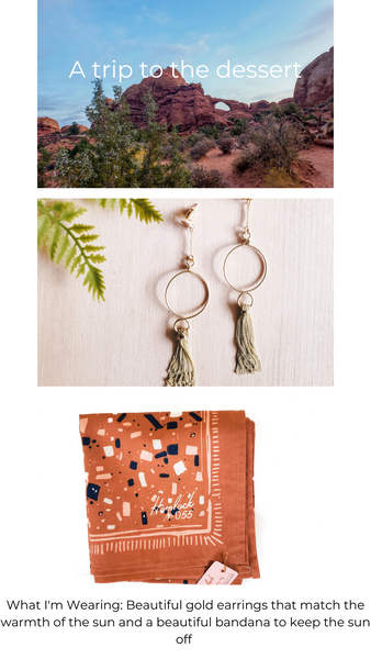 Picture of Arches National Park, Gold Tassle hoop earrings, Screen Printed bandana