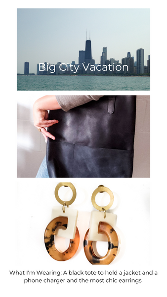Picture of Chicago along the lake, black leather tote bag, chic earrings