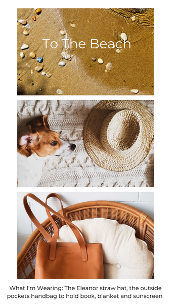 Picture of pebbles on a beach, a beagle and a straw hat, light brown leather tote bag