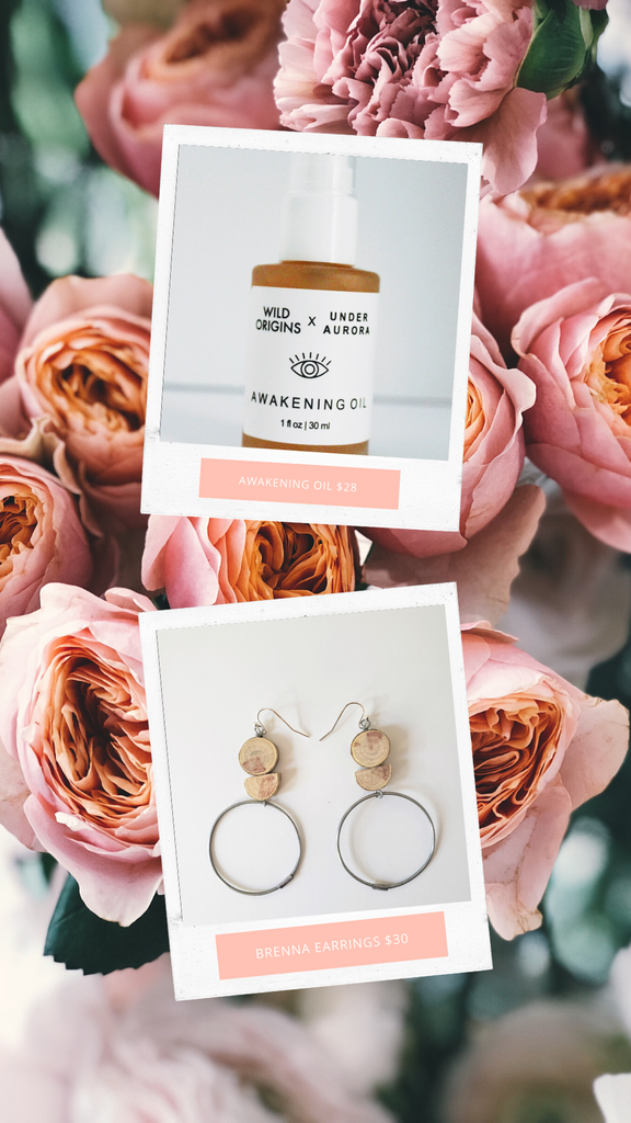 Mother's Day Gift Guide Face Oil and Earrings
