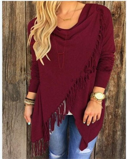Womens Capes And Ponchoes Autumn Winter Women Fashion Candy Colors Tassel Pullovers Plus Size Women Knitted Sweater A1276