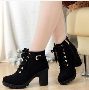 New Autumn Winter Women Boots High Quality Solid Lace-up European Ladies shoes PU Leather Fashion Boots Free Shipping - shopmendez