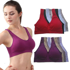 NEW Womens Sport Bra Fitness Yoga Running Vest Underwear Padded Crop Tops Underwear 7 Colors No Wire-rim Bras Female - shopmendez