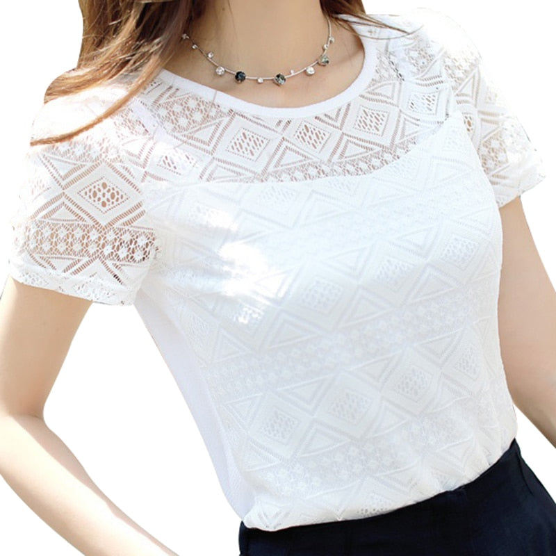 Women Clothing Chiffon Blouse Lace Crochet Female Shirts