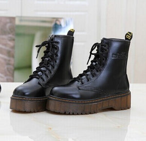 High quality platform autumn and winter add cotton warm motorcycle boots martin boots women's punk ankle boots size 35-40 C062 - shopmendez