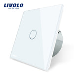Livolo EU Standard  Switch Wall Touch Switch Luxury White Crystal Glass, 1 Gang 1 Way Switch, AC 220-250  C701-11/2/3/5 - shopmendez