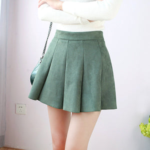 Autumn Winter Women Mini Pleated Skirt Suede Solid Multi Colors High Waist School Girls - shopmendez