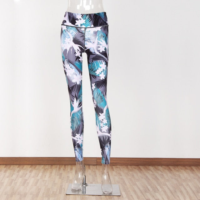New Flower Leaf Print Leggings Women Not Transparent Fitness Slim Jeggings Sporting Pants Elastic Leggins - shopmendez
