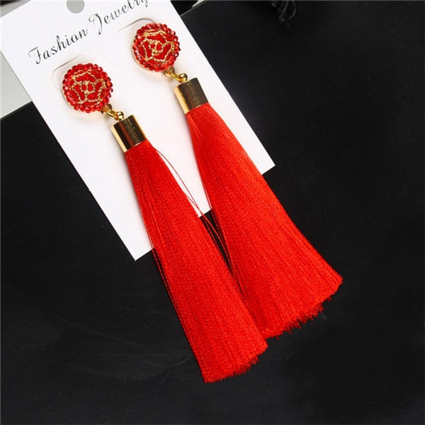 Bohemian Crystal Tassel Earrings Black White Blue Red Pink Silk Fabric Long Drop Dangle Tassel Earrings For Women Jewelry - shopmendez
