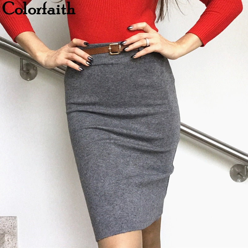 New 2018 Women Solid Multi Colors Knitting Package Hip Pencil Midi Skirt Autumn Winter Belt Bodycon Femininas