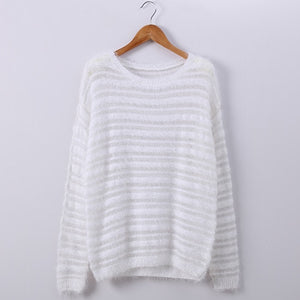 Garemay Mohair Pullover Sweater Woman Knitted Sweaters Long Sleeve Loose O-Neck Hedging Female Sweater Pullover Pull Femme - shopmendez