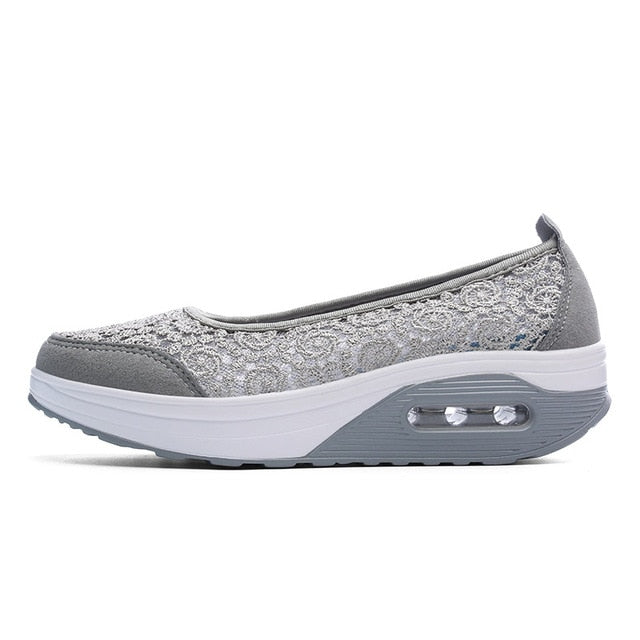 EOFK Summer Women Flat Platform Shoes Woman Casual Air Mesh Breathable Shoes Slip On Gray Fabric Shoes zapatos mujer - shopmendez