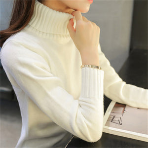 2018 New Autumn winter Women Knitted Sweaters Pullovers Turtleneck Long Sleeve Solid Color Slim Elastic Short Sweater Women K861 - shopmendez