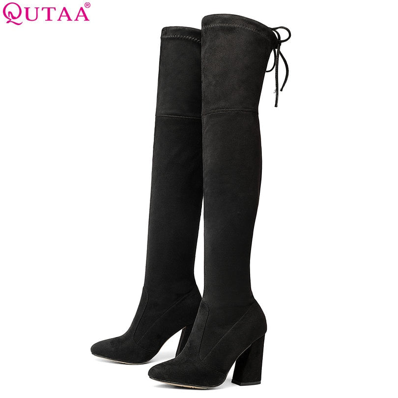 QUTAA 2018 New Flock Leather Women Over The Knee Boots Lace Up Sexy High Heels Women Shoes Lace Up Winter Boots Warm Size 34-43 - shopmendez