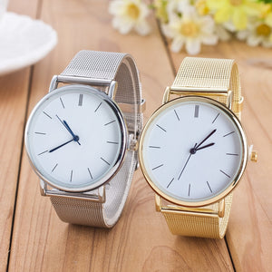 Gold Silver Casual Quartz Watch Women Mesh Stainless Stee - shopmendez