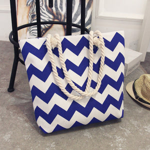 New Summer Women Canvas bohemian style striped Shoulder Beach Bag Female Casual Tote Shopping Big Bag floral Messenger Bags - shopmendez