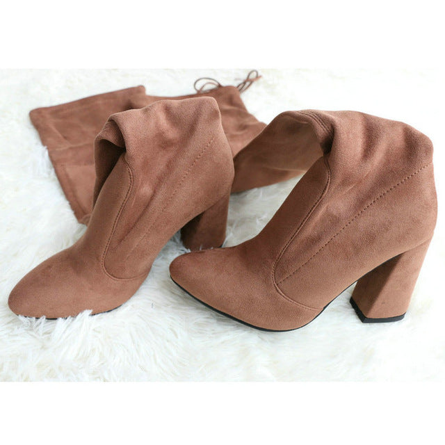 QUTAA 2018 New Flock Leather Women Over The Knee Boots Lace Up Sexy High Heels Women Shoes Lace Up Winter Boots Warm Size 34-43