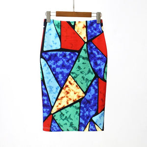 Hermicci 2018 Summer Style Pencil Skirt Women High Waist Green Skirts Vintage Elegant Bodycon Floral Print Midi Skirt - shopmendez
