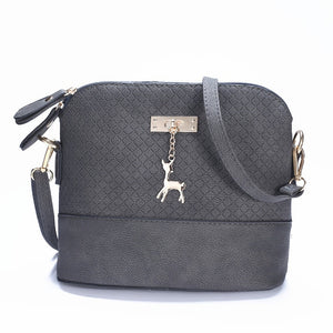 Yogodlns New female bags quality pu leather soft face women bag wild shoulder messenger bag Quilted shell bag pendant cute deer