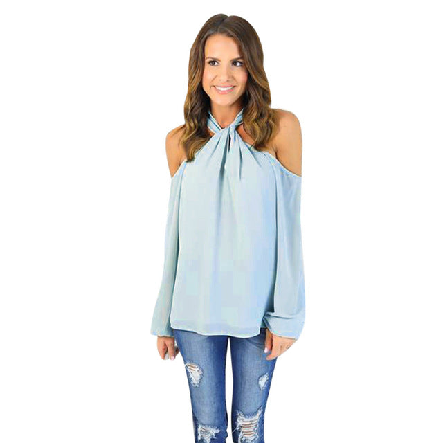 Womens sexy blouses girl Sexy Long Sleeve Off The Shoulder