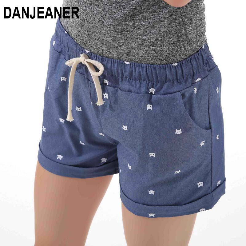 DANJEANER 2018 summer women's home casual elastic waist cotton shorts printed cat pumping self-cultivation shorts candy shorts - shopmendez