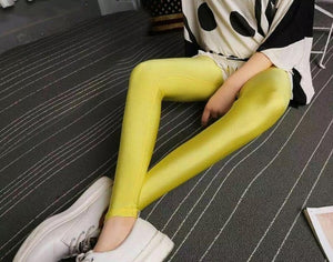 2018 New Spring Solid Candy Neon Leggings For Women High Stretched Female Legging Pants Girl Clothing Leggins Plug Size - shopmendez