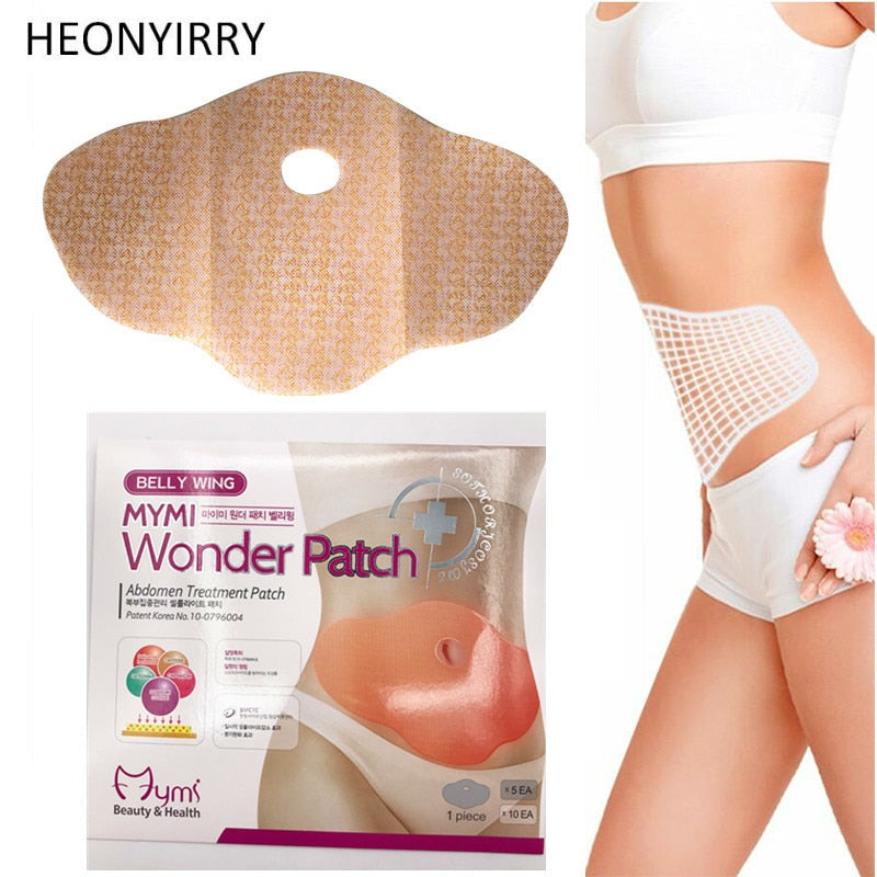 30 Days 10Pc Mymi Wonder Patch Quick Slimming Patch Belly Slim Patch Abdomen Fat burning Navel Stick Slimer Face Lift Tool - shopmendez