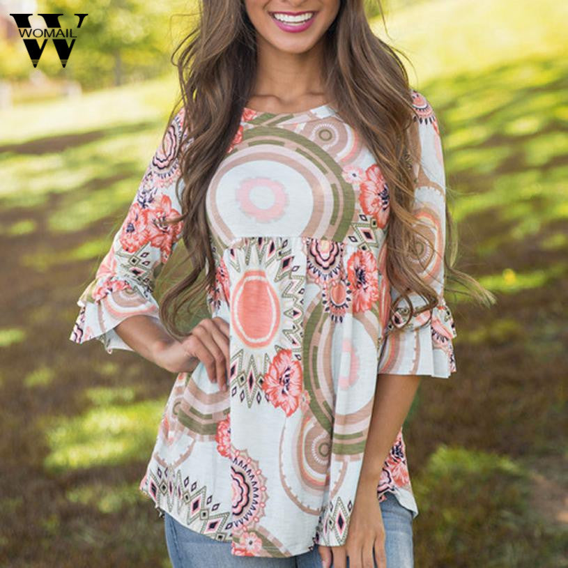 Womail  Fashion Flare Sleeve Women O Neck Floral Print Blouse