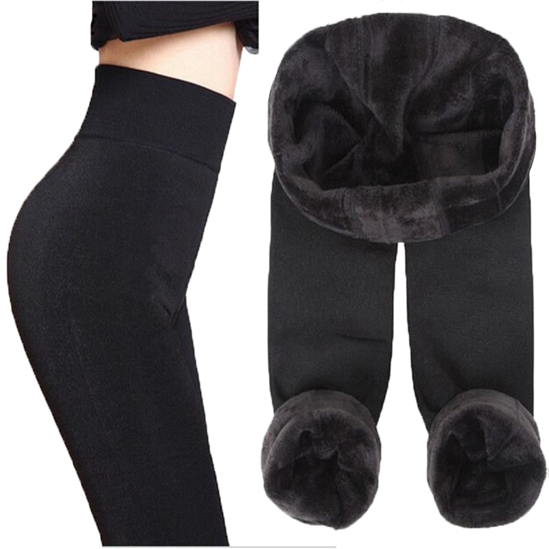 Autumn Winter Fashion Explosion Model Plus Thick Velvet Warm Seamlessly Integrated Inverted Cashmere Leggings Warm Pants - shopmendez