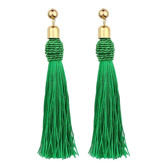 Crazy Feng Handmade Tassel Earrings 2018 Trendy Black Red Yellow Green Long Dangles Ear Broncos Silk Fringed Jewellery For Women