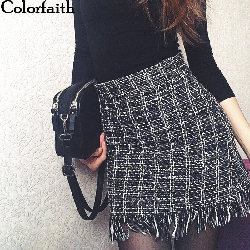 2018 Women Woolen Mini Skirt Autumn Winter Vintage Straight Plaid Tassel Skater Skirt - shopmendez