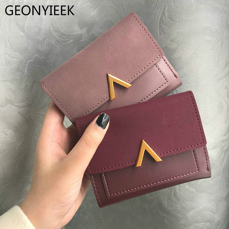 Matte Leather Small Women Wallet Luxury Brand Famous Mini Womens Wallets And Purses Short Female Coin Purse Credit Card Holder - shopmendez