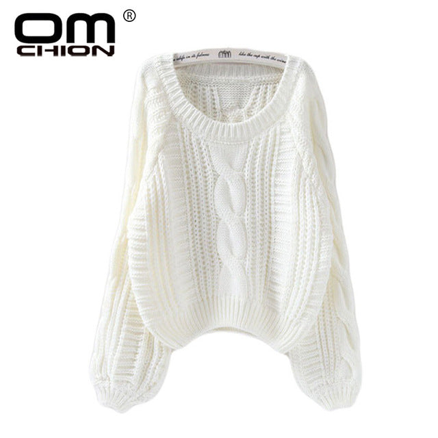 New 2018 Autumn Winter Twist Soft Casual Women Sweaters And Pullovers Lantern Sleeve Short Sweater Loose Pull Femme SW96