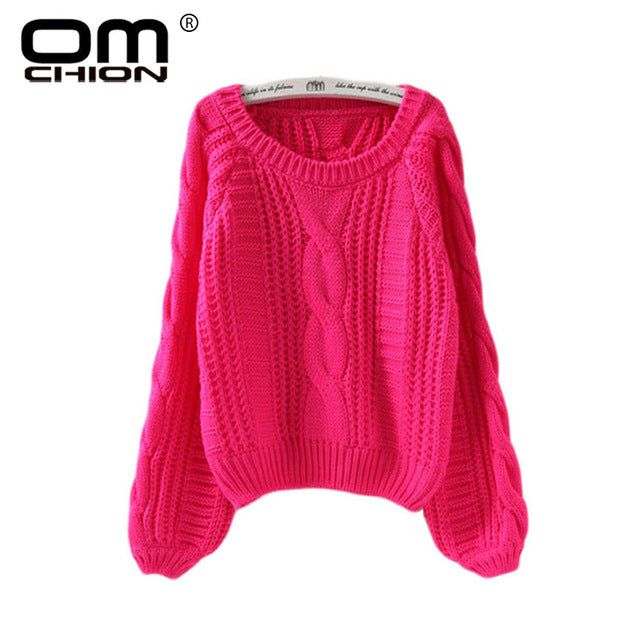 New 2018 Autumn Winter Twist Soft Casual Women Sweaters And Pullovers Lantern Sleeve Short Sweater Loose Pull Femme SW96 - shopmendez