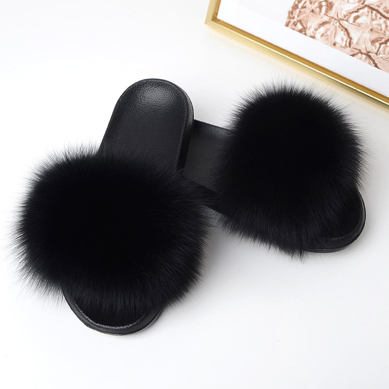 Real Fox Hair Slippers Women Fur Home Fluffy Sliders Winter Plush Furry Summer Flats Sweet Ladies Shoes Large Size 45 Pantufas - shopmendez