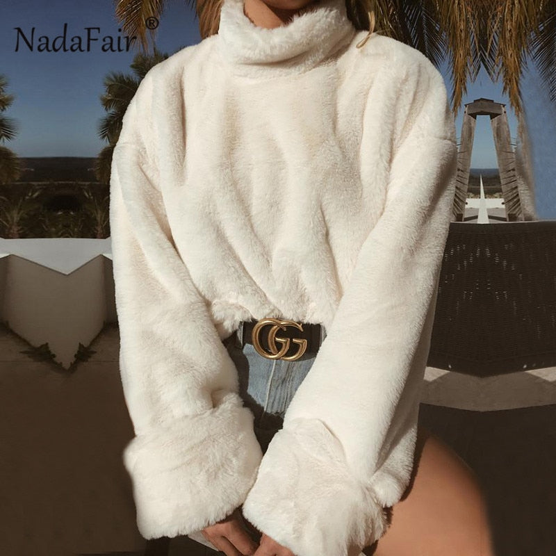 Nadafair long sleeve turtleneck white soft plush sweater women autumn winter casual thick warm faux fur pullover tops women - shopmendez